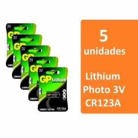 5 baterias GP Batteries Lithium Photo 3V CR123A